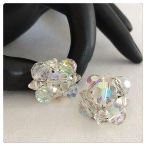 Vintage Aurora Borealis Button Silver Clip Earring